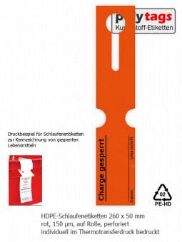 HDPE-Schlaufenetiketten 2650 TTD rot