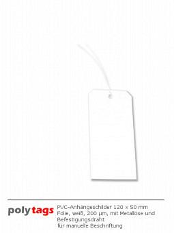 PVC-Anhängeschilder 1250 MD weiß
